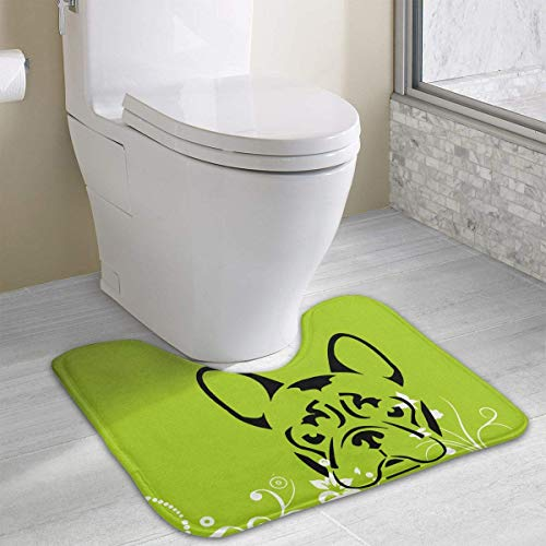 Hoklcvd French Bulldog U-Shaped Toilet Floor Rug Non-Slip Toilet Carpets Shower Mat