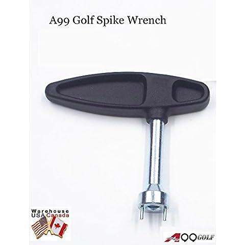 Chiave stringi chiodi con maniglia in plastica, colore: nero, Chiave per tacchetti scarpe da Golf-Attrezzo per la rimozione