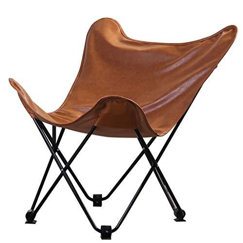 DUOER-Klappstühle Butterfly Chair mit Ledersitz, braun | Sessel, Lounge Sitz für Indoor & Outdoor Garten Zubehör (Color : Brown)