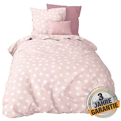 Aminata Kids Premium Bettwäsche-Set Mädchen Sterne, zart rosa, weiß 135 x 200 cm + 80 x 80 cm aus Baumwolle mit Reißverschluss, unsere Kinder-Jugend-Bettwäsche mit Stern-Motiv ist weich & kuschelig