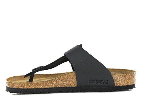 Birkenstock Medina , Unisex - Erwachsene Sandalen/Zehentrenner aus Birko-Flor Noir