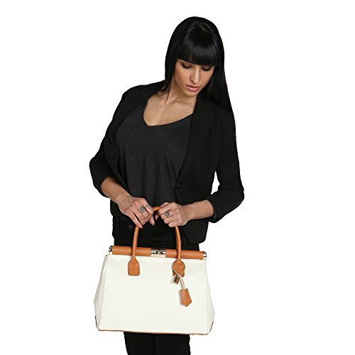 Chicca Borse Femme Sac à main avec épaule en cuir véritable Fabriqué en Italie 35x28x16 Cm Bicolore