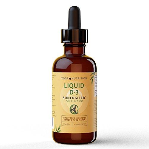 Flüssiges Vitamin D3, SUNERGIZER, Sublingual – 60 ml x 1,000 JU (pro 1/5 Pipette) – Geschmacksneutral in Purem Wasser – Keine Zusätzlichen Inhaltsstoffe