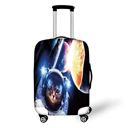 Travel Luggage Cover Suitcase Protector,Space Cat,Kitten with Space Suit Planets Nebula Supernova Eclipse Artwork,White Orange and Dark Blue,for Travel