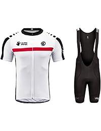 Uglyfrog Hombres Maillots de Bicicleta Jersey de Manga Corta + Pantalones Cortos Acolchados Ropa de Ciclismo