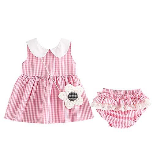 Milkiwai 2pcs Baby Mädchen Shirt Kleid Set Kleinkind Outfit Plaid Kleid + Höschen (Color : Pink, Size : 70)