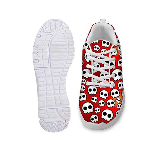 Herren Trendige Laufschuhe Turnschuhe Rote Sportschuhe Täglich Fitness Atmungsaktiv Straßenlaufschuhe Schuhe Niedlich Weisse Schädel Köpfe Druck Flach Wanderschuhe Sneakers Shoes C075 EU 39 -