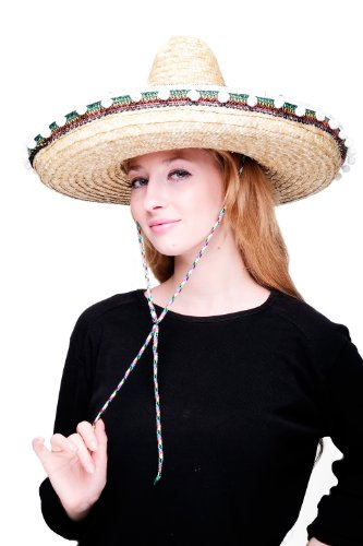 DRESS ME UP - Hut Fasching Karneval Sombrero Mariachi Mexiko Strohhut Mexikanerhut H24