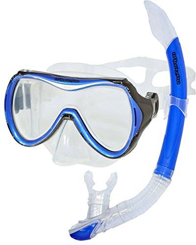 AQUAZON CAPRI Hochwertiges Schnorchelset, Tauchset, Schwimmset, Schnorchelbrille mit Tempered Glas, Schnorchel mit Semi Dry top für Kinder, Jugendliche Von 7-14 Jahren , colour:blue
