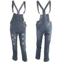 Oyamihin Pantalones de Mezclilla Pantalones Traje de Mujer Casual Pantalones Pantalones Vaqueros Largos con Orificio Rasgado Pantalones con Correa Ajustable - Azul Claro S