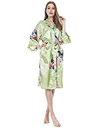 Women s Long Satin Kimono Robe Floral Printed Dressing Gown Bathrobe  Nightwear with Belt f705fbb1c