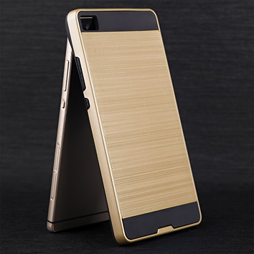 EGO® Hard Case Schutz Hülle für Huawei P8 Gold Metallic Effect Aluminium Brushed Handy Cover Schale Bumper Etui Gold