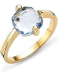 Miore Damen-Ring 9 Karat (375) Gelbgold Topaz 2.5ct. Quarz blau Quadratschliff - MNA9029