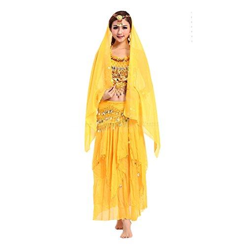 VENI MASEE Damen Bauchtanz Kostüm Set Sexy Kostüm Damen - Sechsteiliges Set - gelb (Sexy Kostüm Zu Machen)