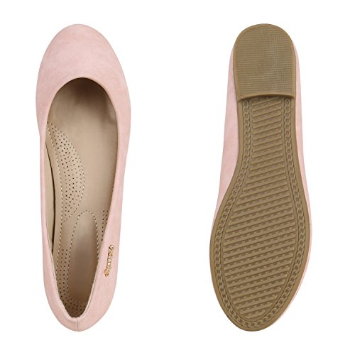 Klassische Damen Schuhe | Strass Ballerinas | Elegante Slipper| Übergrößen | Metallic Glitzer Flats Rosa Gold