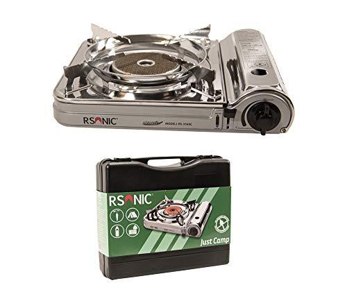 RSonic tragbarer Infrarot Gaskocher mit Tragekoffer | Slim Edition | Brenner aus Keramik | Turbo Leistung | Campingkocher, Tischkocher (Chrom, ohne Gaskartusche)