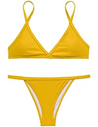 X-HERR Mujer Color de Contraste Triángulo Bra Fondo Brasileño Trajes de baño Bikini