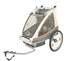 Blue Bird 65941 Remorque vélo pour enfant convertible 2 places Gris/orange/anthracite