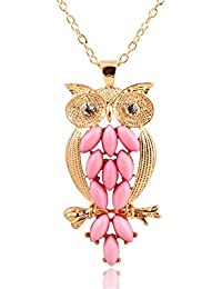 Glitz Fashion Designer PartyWear Must Have Pink Owl Pendant Necklace For Women