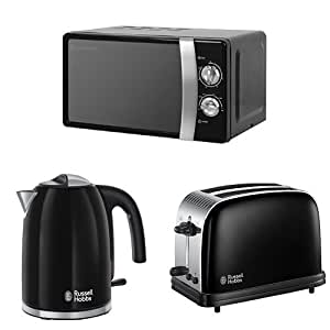 Russell Hobbs 17 L, 700 W Manual Microwave with Colours Plus Kettle, 3000 W, 1.7 L and Colours Plus 2-Slice Toaster - Black