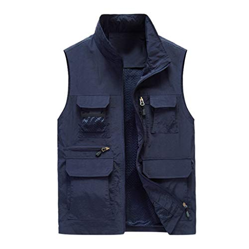 Timogee Weste Herren Schnell Trocknend Jacke mit Vielen Praktischen Taschen Mäntel Westen für Herren Jungen Westen mit Reißverschluss Outdoor