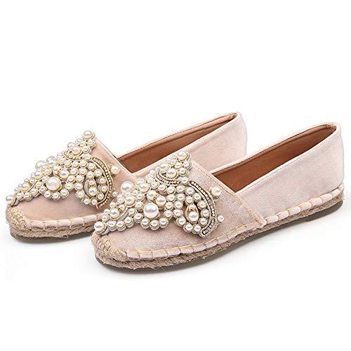 YOPAIYA Fischer Schuhe Perle Samt Aprikose Fischer Schuhe Frauen Metall Perlen Espadrilles Exquisite Nähen Wohnungen Frau Müßiggänger Footware, 35 Army Navy Schuhe