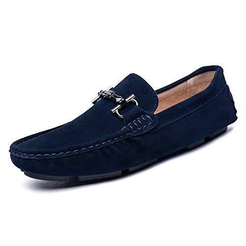 YUNLI Herrenmode Loafers Business Schuhe Echtes Leder Boot Breathable Laufen Walking Office Casual Täglichen Outdoor Trainer Braun Schwarz (Color : Royalblue, Größe : 43 EU) -