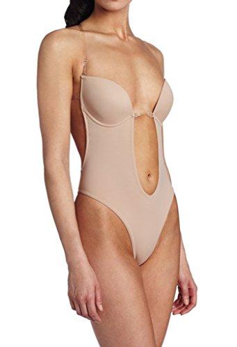 Alove - body donna, perizoma con spalline e fasce posteriori in silicone trasparente, reggiseno modellato beige s