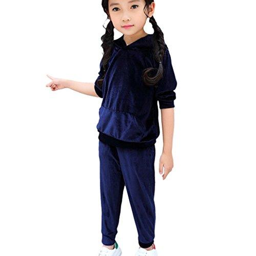 Bekleidung Longra Kinder Baby Mädchen Jogginganzug Trainingsanzug mit Velvet Kapuze Sweatshirts Hoodie Kapuzenpullover + Lang Hosen Kleider Set Kindermode Sportanzug(1-5Jahre) (75CM 1Jahre, Navy)