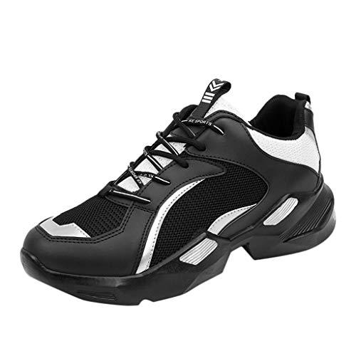 FNKDOR Uomo Mesh Traspirante Scarpe da Corsa Scarpe da Ginnastica Scarpe Sportive Aumentare L'Altezza Suole Eva Aumento di Altezza Interno Casuale Sneaker Nero 42 EU