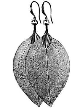 Ohrhänger - Metall - Buddha-Baum Blatt - grau