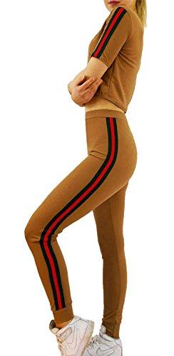Islander Fashions Ladies Side Stripe Crop Veste & Lounge Jogger Survtement Femme Sports 2 Pcs Set S, M, L Camel