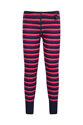 Mountain Warehouse Merino Thermohose als Baselayer für Kinder - Gestreifte Leggings, atmungsaktiv, leichte Hose, antibakteriell - Winter Baselayer Rosa 116 (5-6 Jahre) -