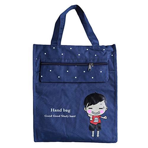 INSEET Mädchen Jungen Student Handtasche Dokument Organizer File Bag Tragbare Laptop Tasche Canvas Aktentasche mit Reißverschluss, Navy -