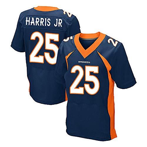 RENDONG NFL Fußball Trikot Denver Broncos Bestickter Bestickte American Football Wear T-Shirt Mit V-Ausschnitt,25blue,S
