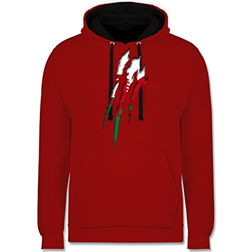 Länder - Wales Krallenspuren - Kontrast Hoodie Rot/Schwarz