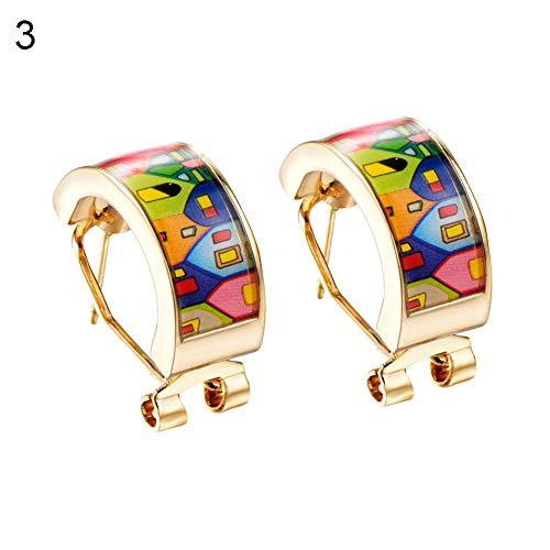 (FEIDA 1 Paar Ohrringe Fashion Emaille bunt elegant Vintage Schöne Mode Kreolen Huggie für Frauen Mädchen Party Schmuck Geschenk 3#)