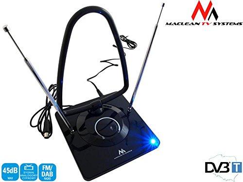 Maclean MCTV-963 Aktive DVB-T DVB-T2 Antenne, TV, Radio, Zimmerantenne, 45 dB Verstärkung, Netzteil, für UKW VHF UHF