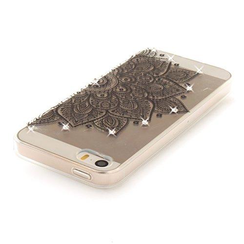 Apple iPhone 5/5S Coque, Voguecase (Diamant bling)TPU avec Absorption de Choc, Etui Silicone Souple Transparent, Légère / Ajustement Parfait Coque Shell Housse Cover pour Apple iPhone 5 5G 5S SE (Dent Dentelle tapis 07/noir