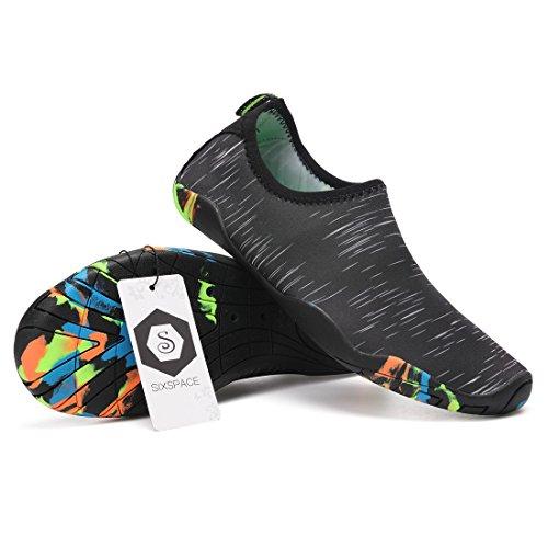 Sixspace Badeschuhe Strandschuhe Wasserschuhe Aquaschuhe Schwimmschuhe Barfuß Schuhe für Damen Herren Schwarz