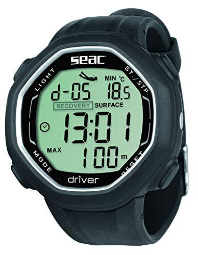 Seac Driver Ordinateur de Poignet pour la plongée en apnée avec téléchargement des données. Adulte Unisexe, Noir, Standard