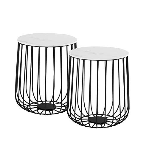 CARO-Möbel Couchtisch ERRANO Beistelltisch Wohnzimmertisch im 2er Set in Marmor-Optik weiß, Metallkorb mit Stauraum, Vintage Look