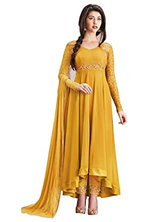 Ethnic Yard Women's Faux Georgette Dress Material (1135_Free Size_Yellow)