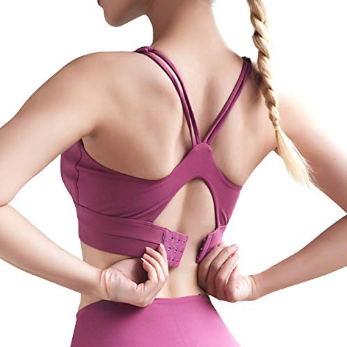 Damen Sport-BH Anti-Schock U-Neck Verstellbare Intensität Fitness Lauf BH Stark Halt, Magenta S - 4