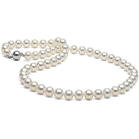 Blanco Japonés Agua salada Akoya Collar de perlas cultivadas, 7.0–7.5mm–(longitud de Princesa, AAA CALIDAD, Oro Blanco De 14K Pulido cierre de bola