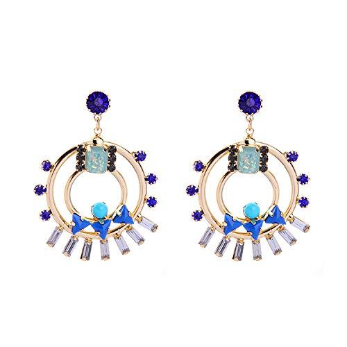 NECKLACEXSJ Pendientes, Joyería De Moda Moda Pop Joyas Tendencia Damas Doble Diamante Anillo Colorido