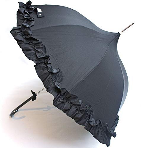 Regenschirm Stockschirm Pagodenschirm schwarz mit Rüschen von Recrea
