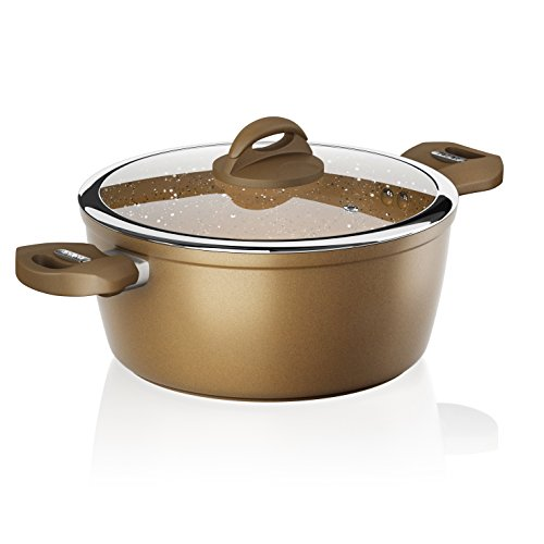 Tower Cerastone Forged Casserole Pan with Easy Clean Non-Stick Ceramic Coating, Cast Iron, Gold, 24 cm