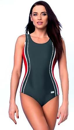 gWINNER ® Badeanzug / Schwimmanzug - MADE IN EU (Grau/Rot, 36)