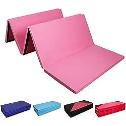 CCLIFE Colchoneta Plegable de Gimnasia y Colchoneta Yoga Colchoneta Deportiva Yoga estrilla 5 Pliegues, Color:Rosa